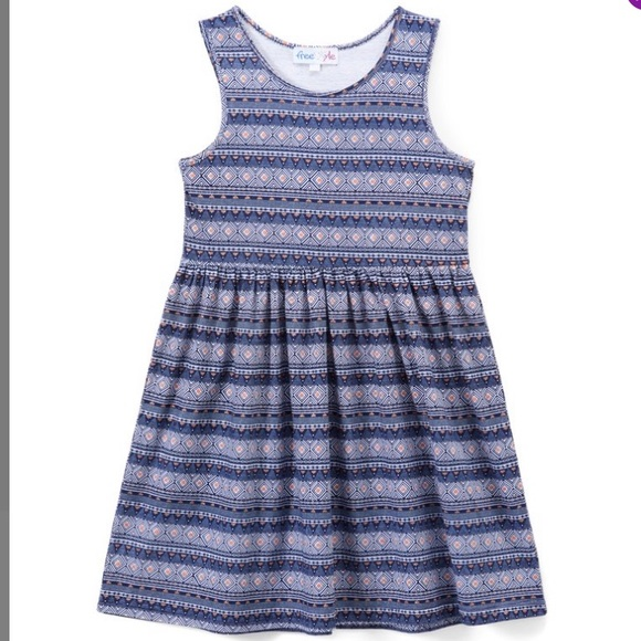 Freestyle Other - Girls 12 month Blue Geometric Stripe A-Line Dress